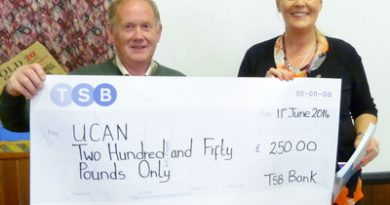 Bill presents a cheque to Fiona JD Pearson of UCAN.